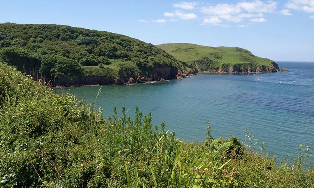 Photo of the South Devon coastline with sea and coastal cliffs at Hope Cove