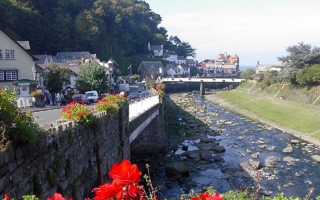 Photo looking down the river to Lynmouth town