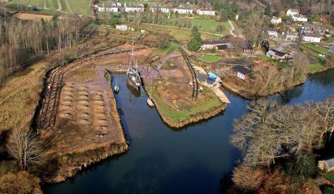 Aerial photo of Morwellham Quay