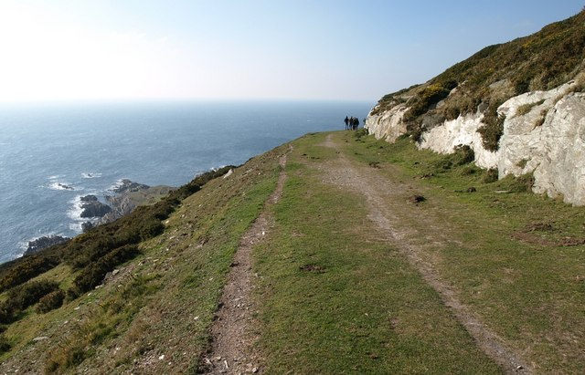 Photo looking down to the sea from the South West Coast Path at Revelstoke Carriage Way