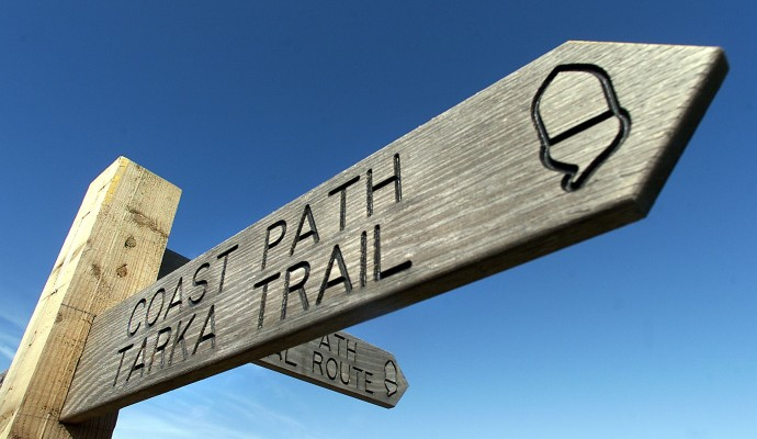Photo of the top of a waymarking post for the Coast Path and Tarka Trail