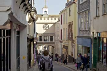 Photo looking down Totnes high street to the clock