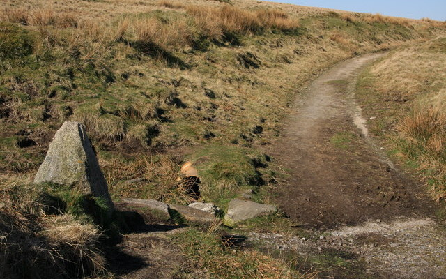 Photo of the Two Moors Way path across moorland with a granite way marker in the foreground
