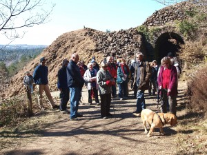 Photo of a group of people in front of old mine workings at Devon Great Consuls
