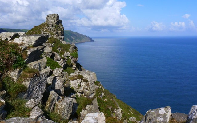 Photo of the north Devon coast, looking out over rocks and sea at Valley of the Rocks