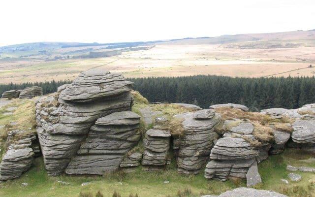 Photo of granite rocks on Bellever Tor on Dartmoor