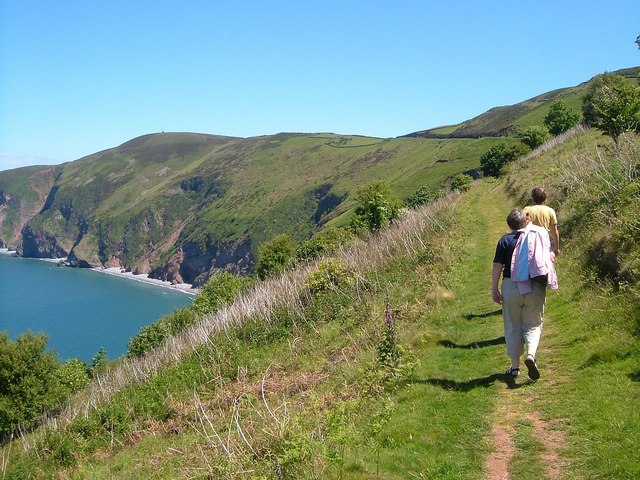 Photo of the coast path and North Devon coastal cliffs east of Lynmouth approaching Countisbury Hill