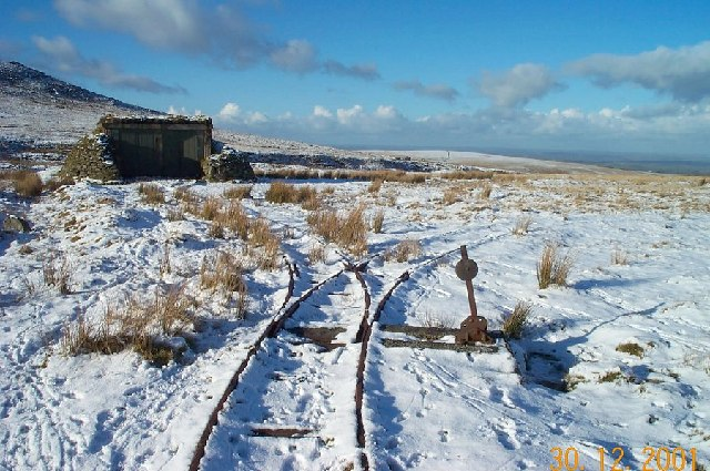 Photo of rail tracks on moorland in the snow near Okehampton Camp
