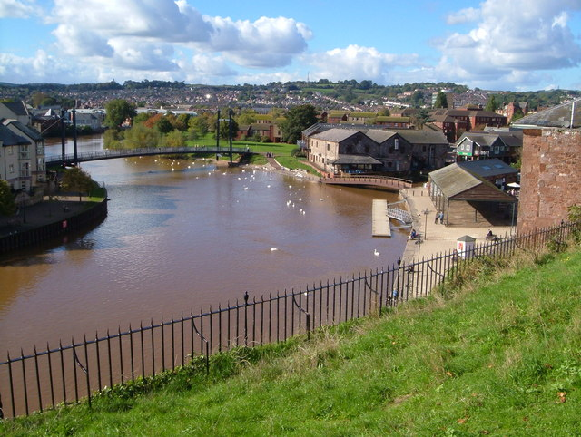 Photo looking down at the river, canal and buildings at Exeter Quay