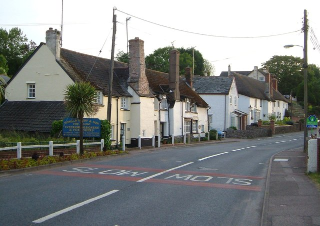 Photo of houses on the High Street at Newton Poppleford
