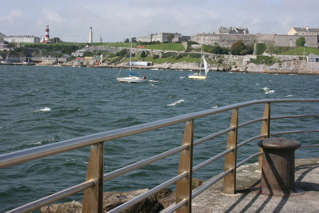 Photo of Plymouth Hoe looking across the water from Mount Batten