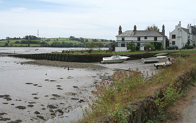 Photo of boats on the mud in front of houses at Bere Ferris