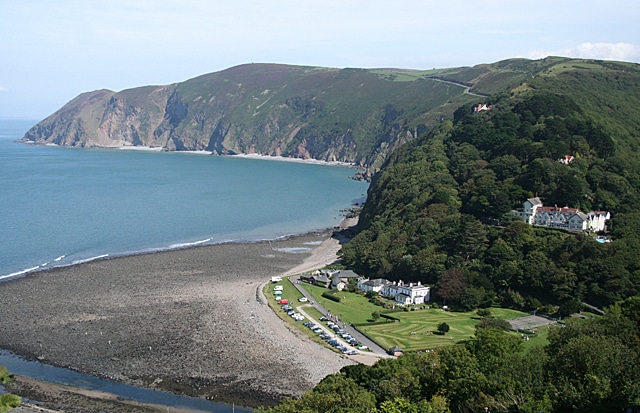 Photo of the coast showing sea, cliffs and beach at Lynmouth Bay