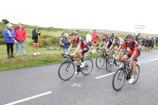 Photo of cyclists on road near Haytor as part of the Tour of Britain race 2016