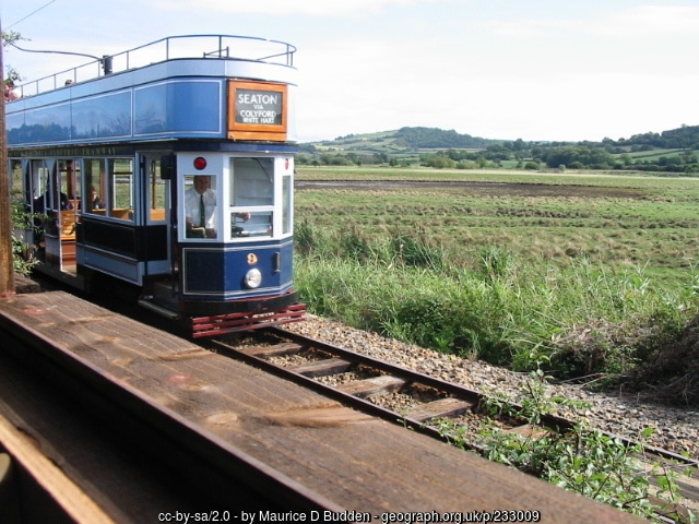 Photo of Seaton tram as it passes through Seaton Wetlands