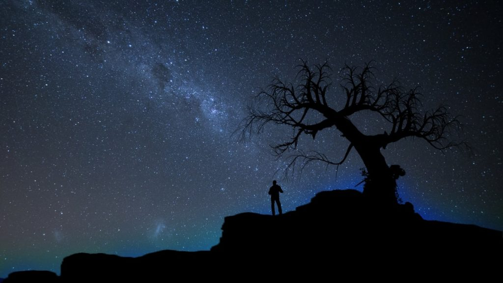 Photo showing a starry sky and the silhouette of a man and tree
