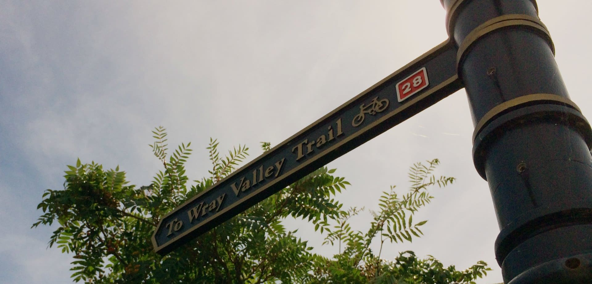 Photo of the Wray Valley Trail waymarking post