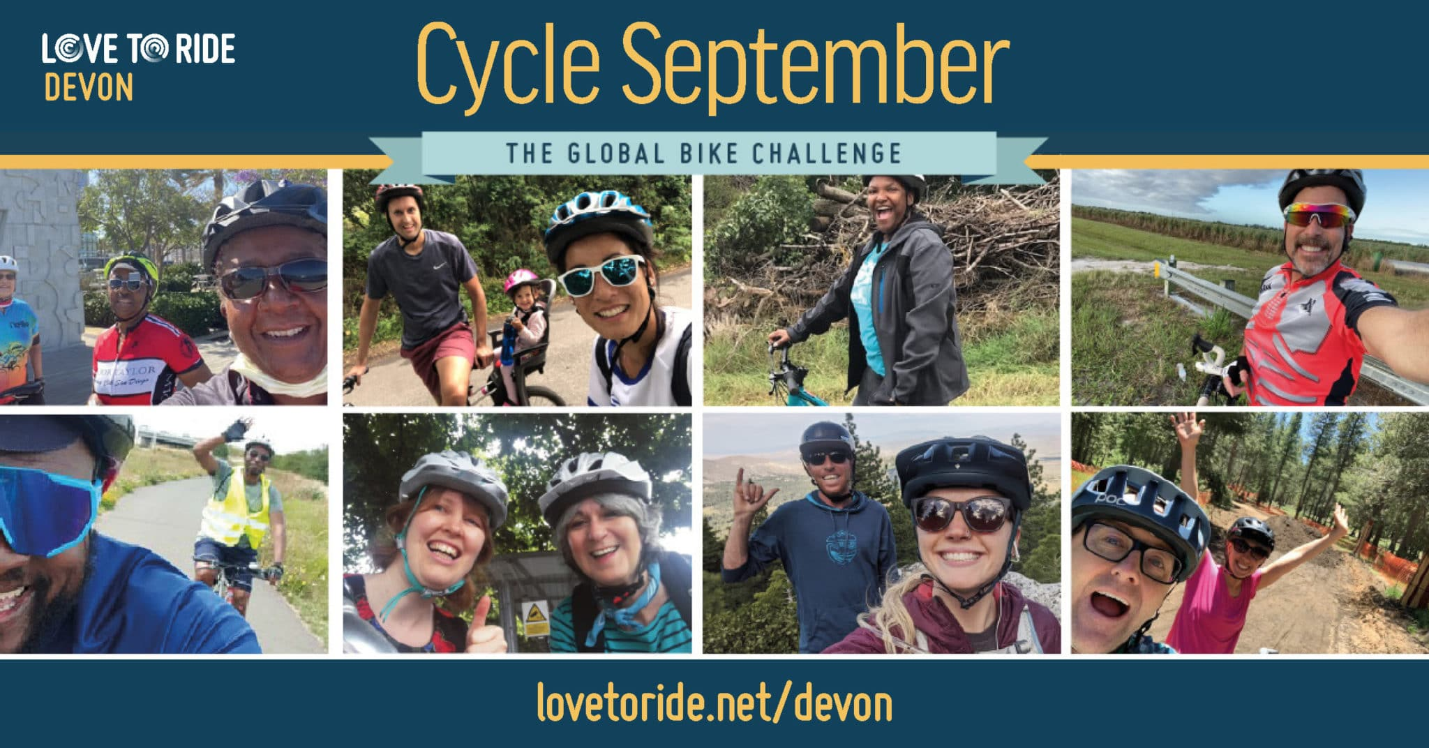Cycle September logo with photos of cyclists and the text 'Love to Ride Devon, Cycle September The Global Bike Challenge, lovetoride.net/devon'