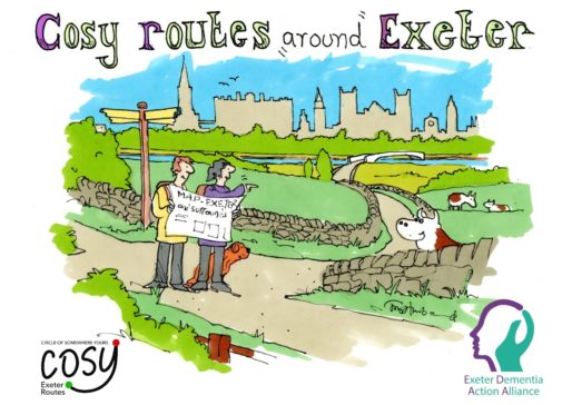 Logo with a cartoon image of walkers and Exeter with the text Cosy routes around Exeter