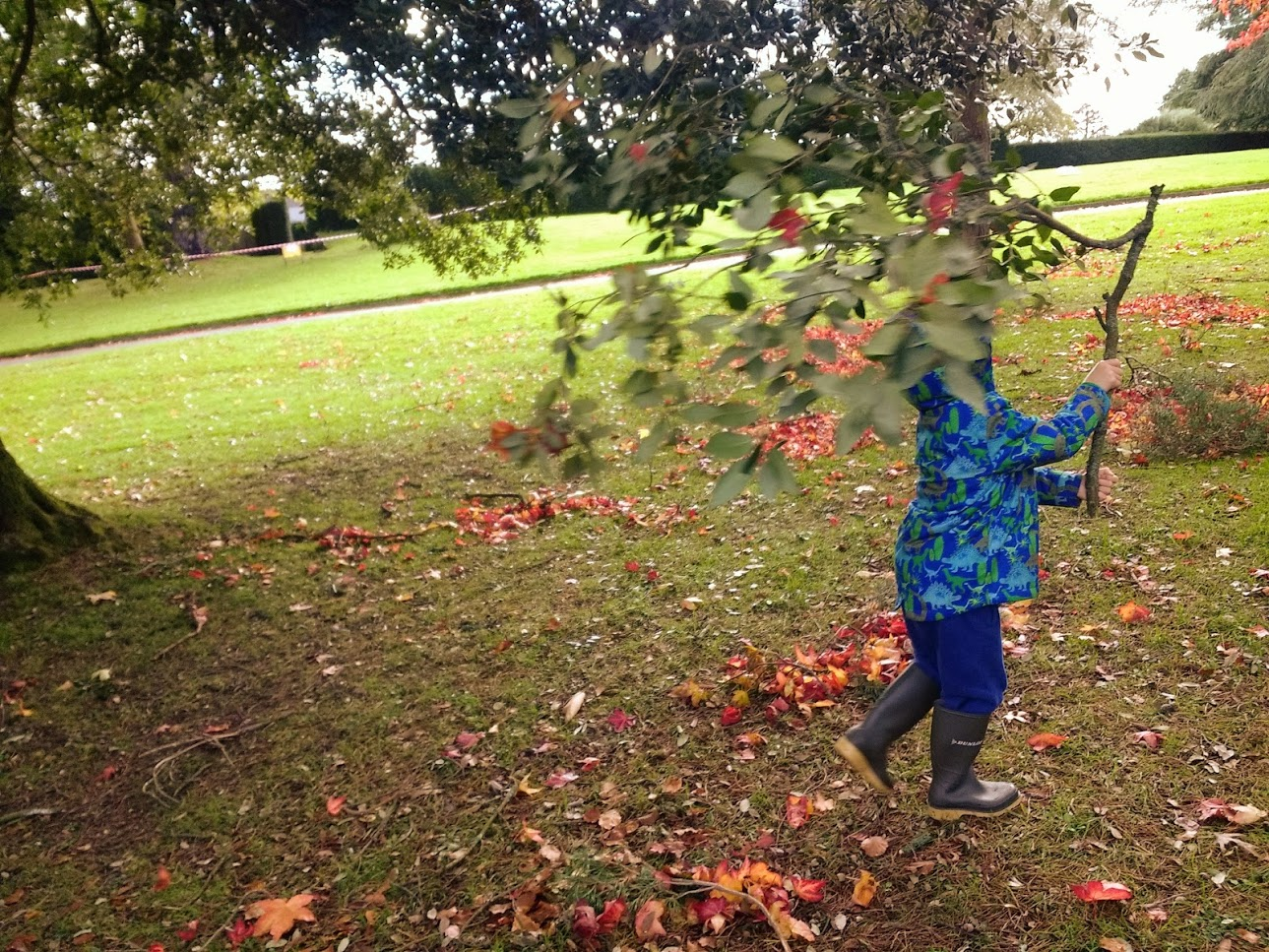 Photo of a child running carrying a branch