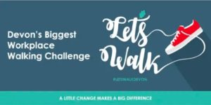 Let's Walk programme logo with an image of a shoe and the text 'Devon's biggest workplace walking challenge Lets Walk, #Letswalkdevon, a little change makes a big difference