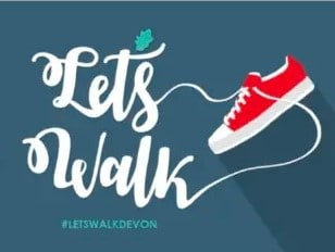 Let's Walk programme logo with an image of a shoe and the text 'Lets Walk, #Letswalkdevon'
