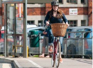 Photo of a woman cycling