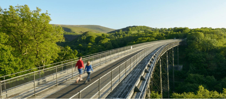 Photo of people walking across a viaduct
